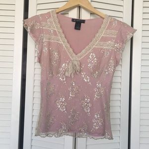 Pretty INC Lace Overlay Top